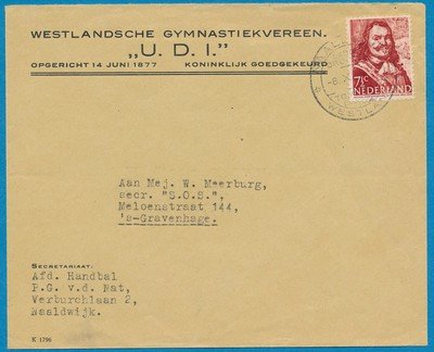 NEDERLAND brief 1945 Naaldwijk Gymnastiek vereniging