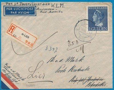 NEDERLAND 3e KLM proefvlucht Z-Amerika 1946 De Lier