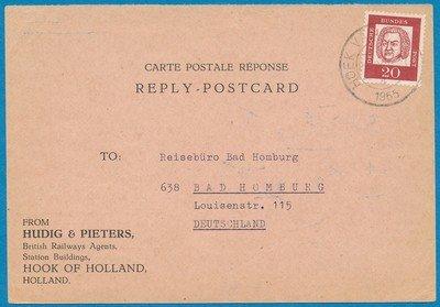 NEDERLAND antwoordkaart 1965 Hoek van Holland naar Duitsland