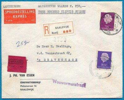 NEDERLAND R-expres waarde brief 1965 Naaldwijk