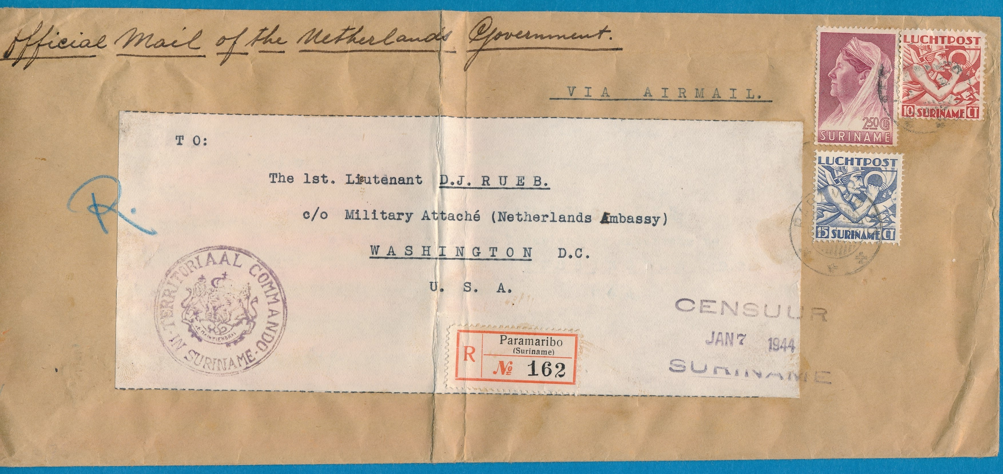 SURINAME R censuur brief 1944 Paramaribo naar USA SUR126