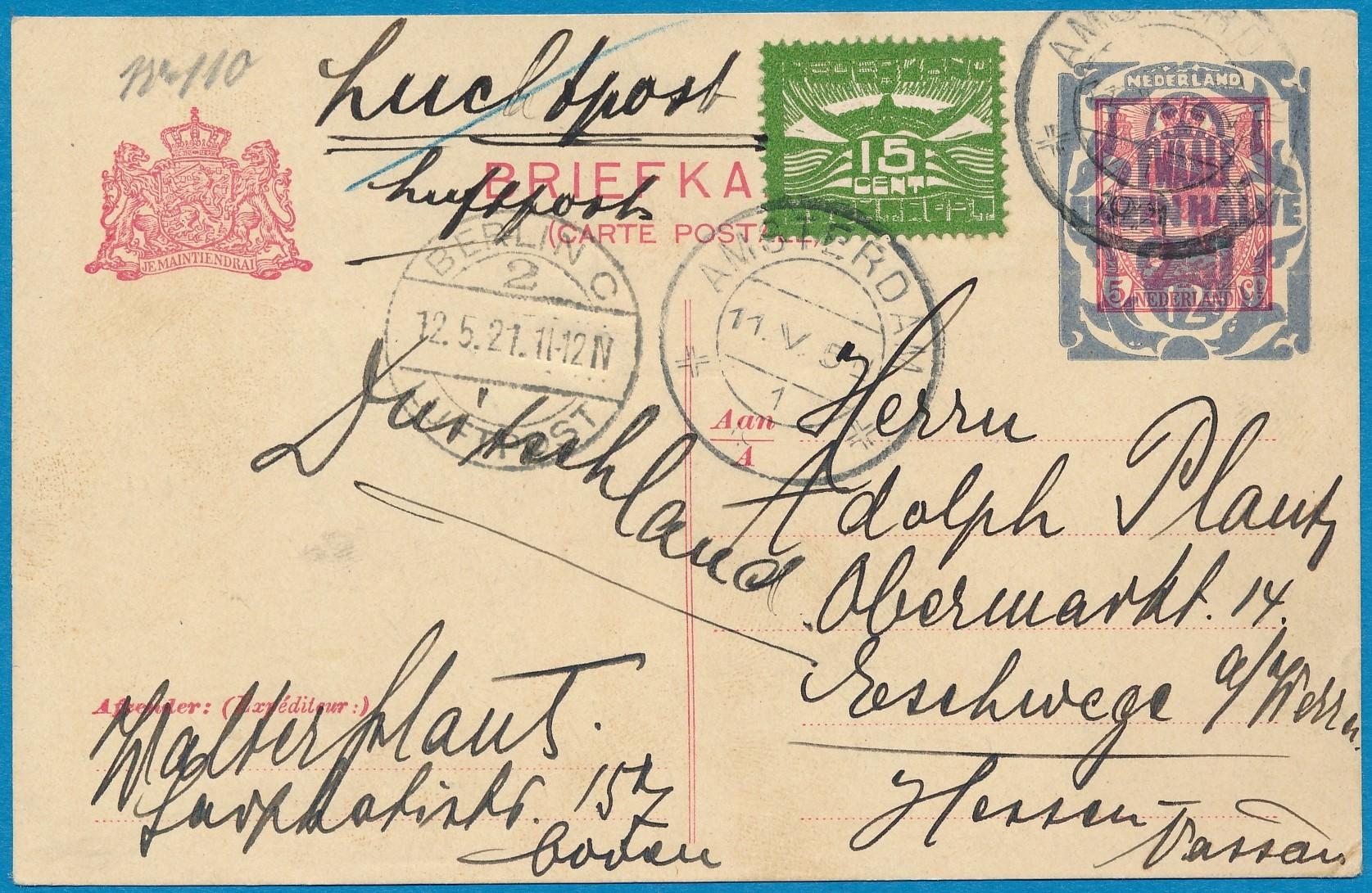 NEDERLAND briefkaart 1921 Amsterdam per luchtpost NL3370