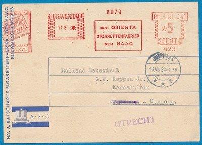 NEDERLAND kaart 1934 's Gravenhage roodfrankering sigaretten