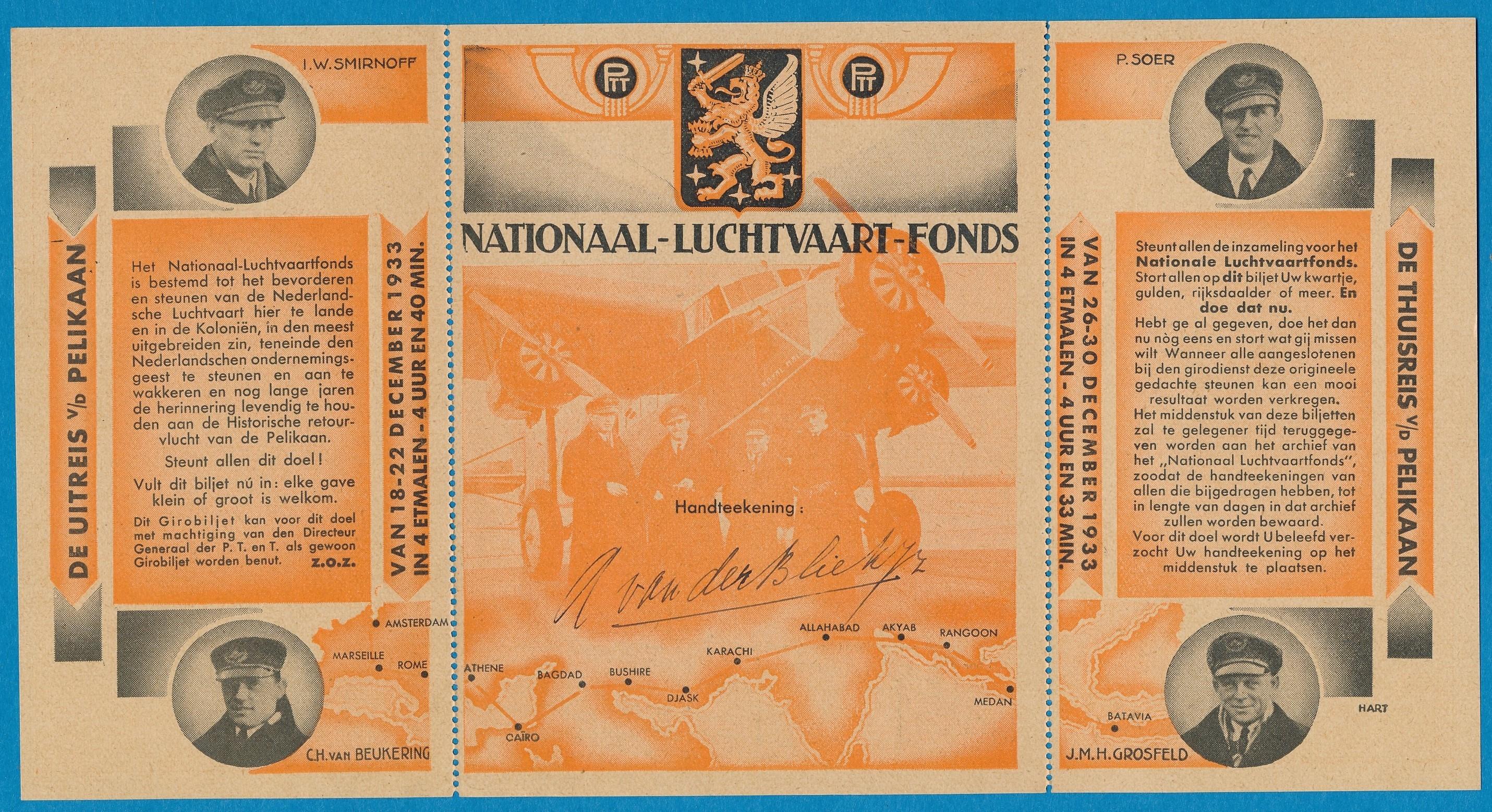 NEDERLAND bijdrage formulier voor Nationaal Luchtvaart Fonds 1933 NL4380
