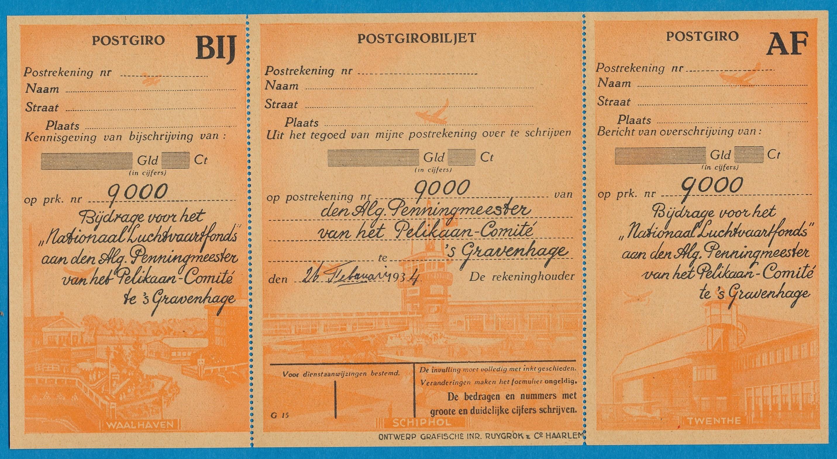 NEDERLAND bijdrage formulier voor Nationaal Luchtvaart Fonds 1933