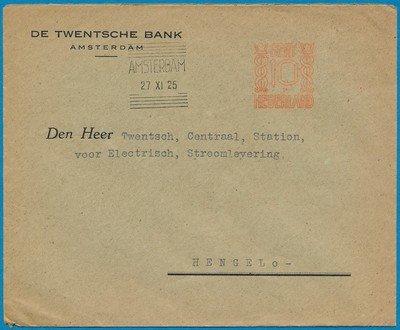NEDERLAND brief 1925 Amsterdam met 10ct rood frankering