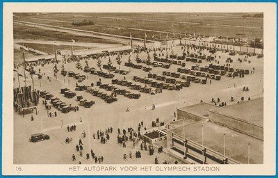 OLYMPIADE kaart Amsterdam 1928 Autopark *