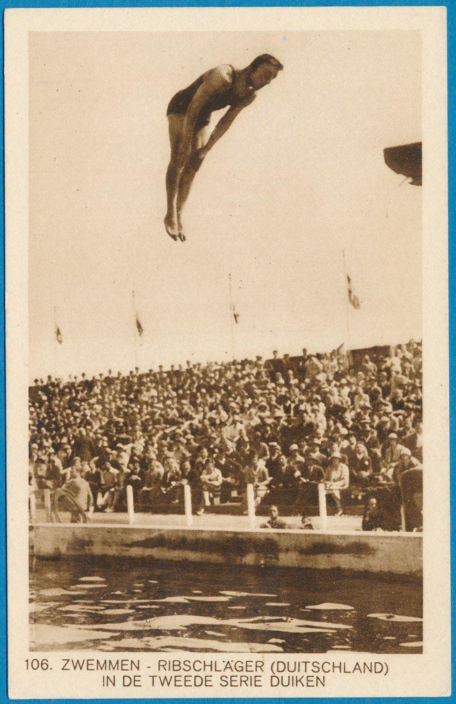OLYMPIADE Amsterdam 1928 kaart duiken Ribschläger Duitsland *