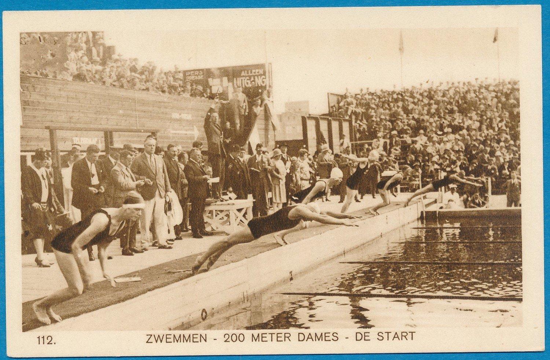 OLYMPIADE Amsterdam 1928 kaart zwemmen 200m dames *