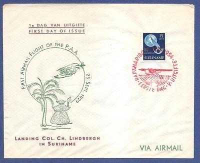 SURINAME FDC 1954 Paramaribo landing Lindbergh