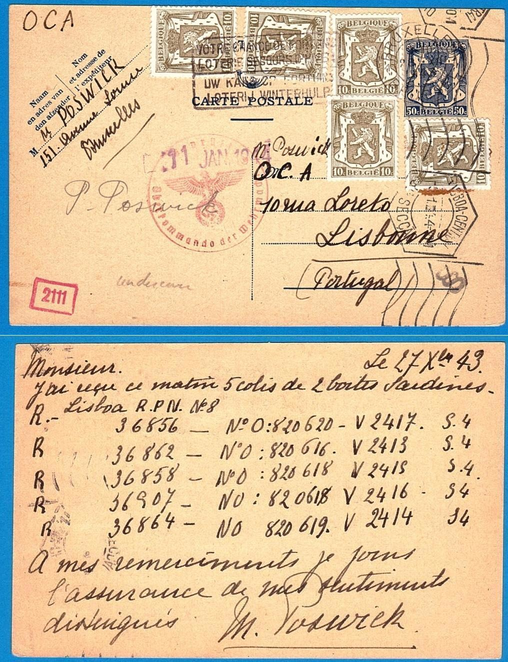 BELGIUM postal card 1943 to Portugal undercover