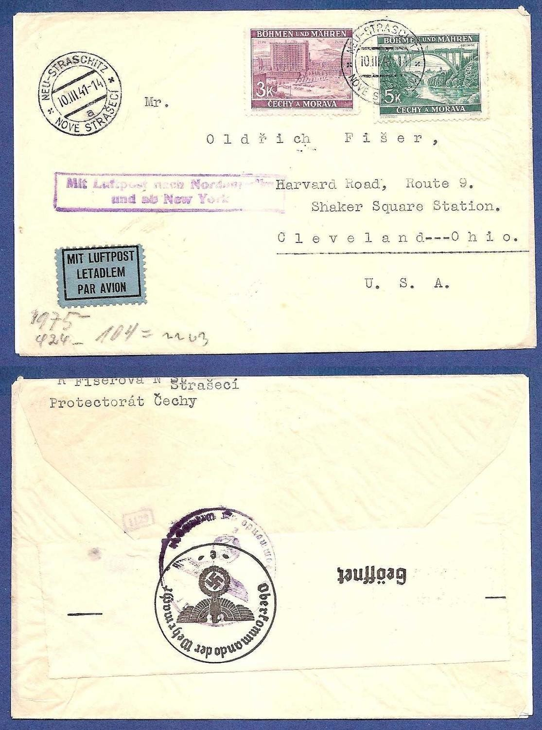 BOHEMEN MORAVIA airmail cover 1941 to USA