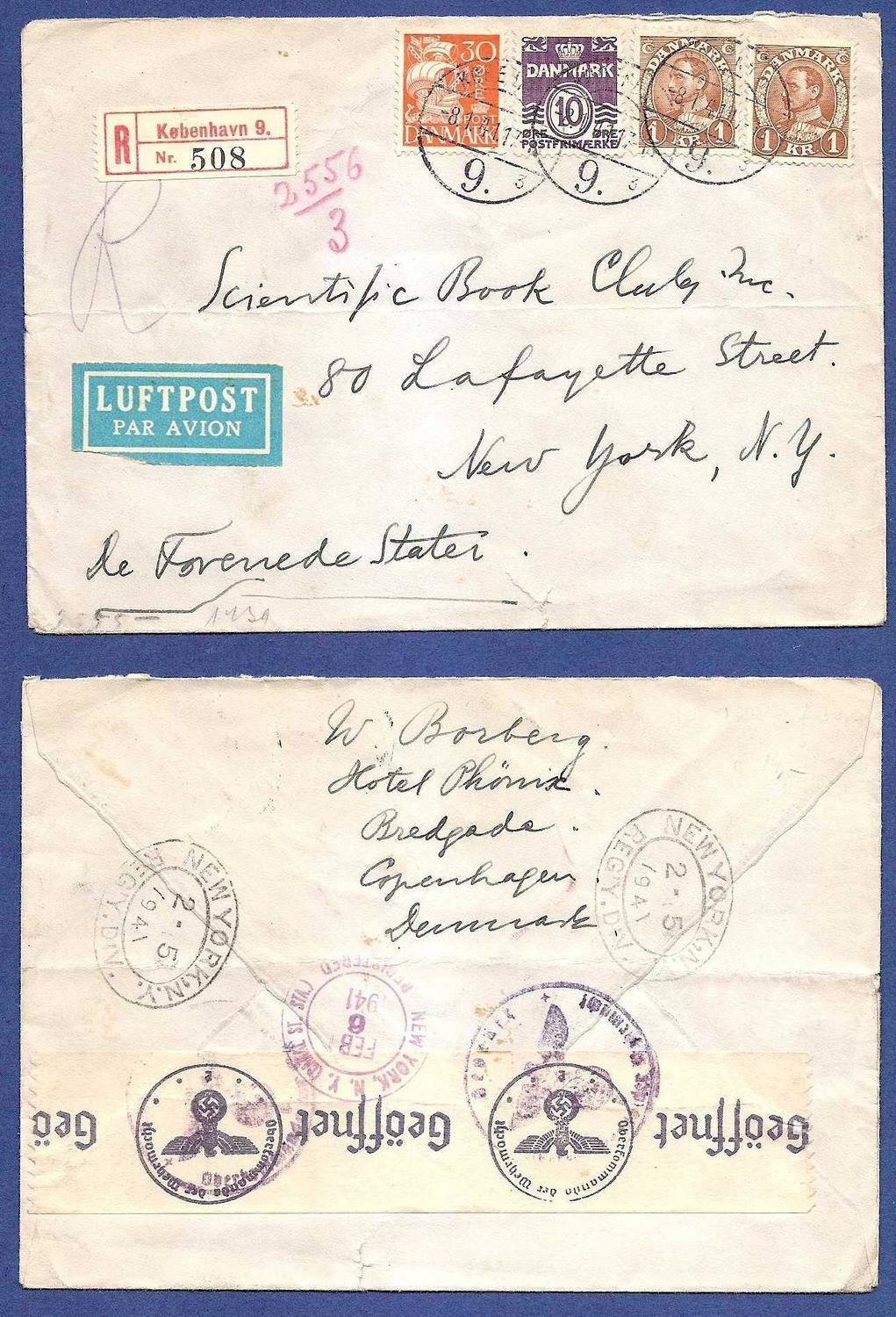 DENMARK R-airmail 1941 Kopenhagen to USA