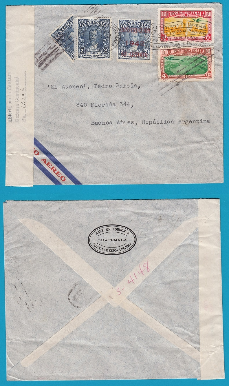 GUATEMALA air censored cover 1942 to Argentina GUA034