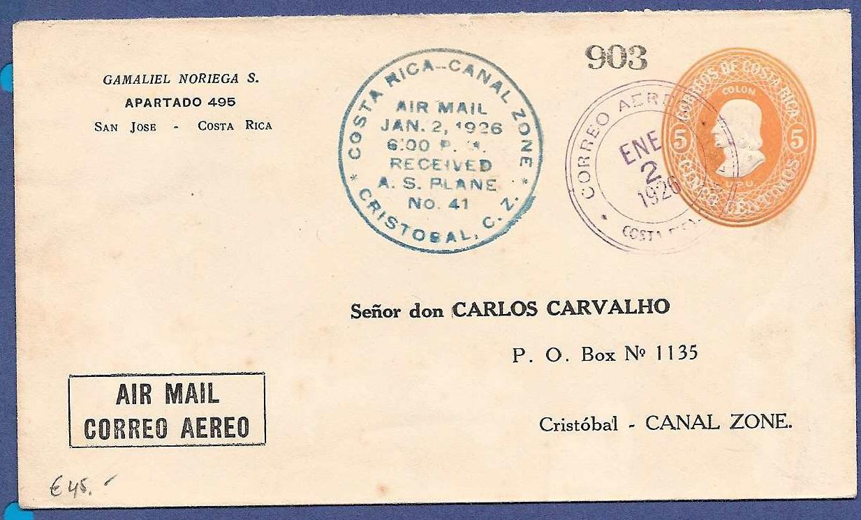 COSTA RICA airmail cover 1926 to Canal Zone CRI014