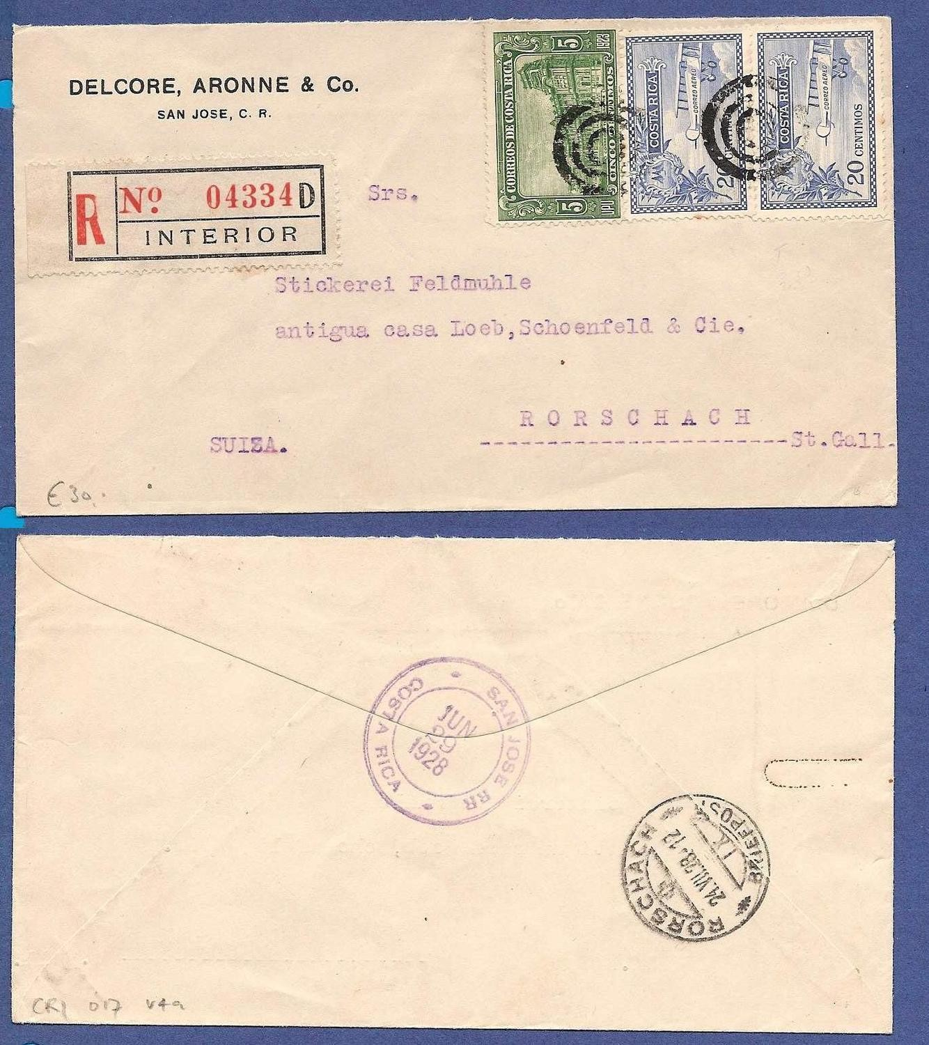 COSTA RICA R airmail cover 1928 to Switzerland