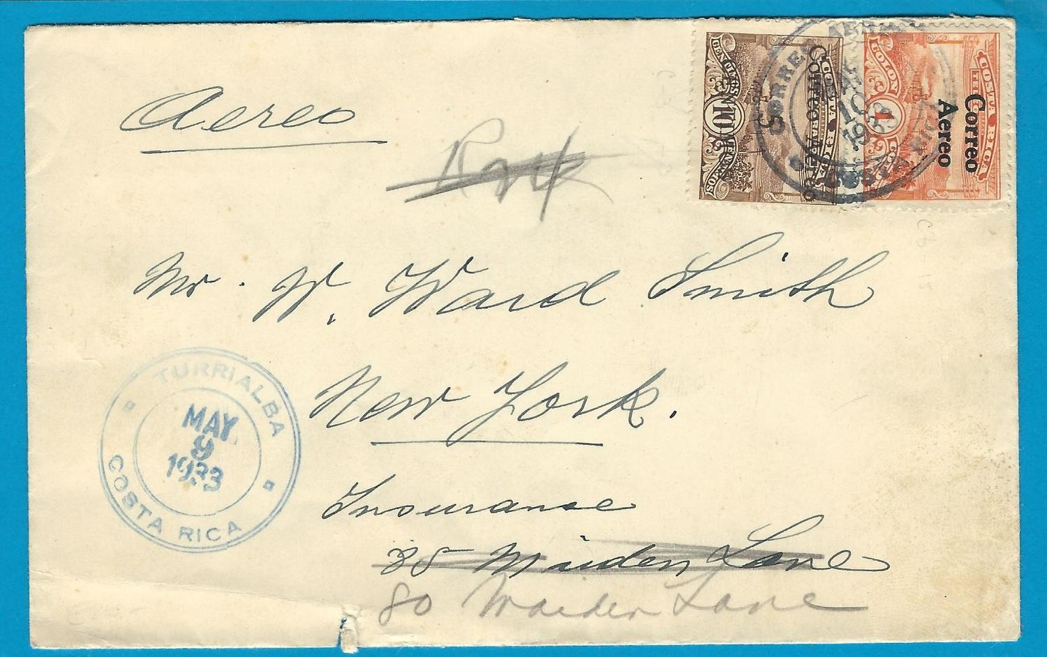 COSTA RICA air cover 1933 Turrialba to USA