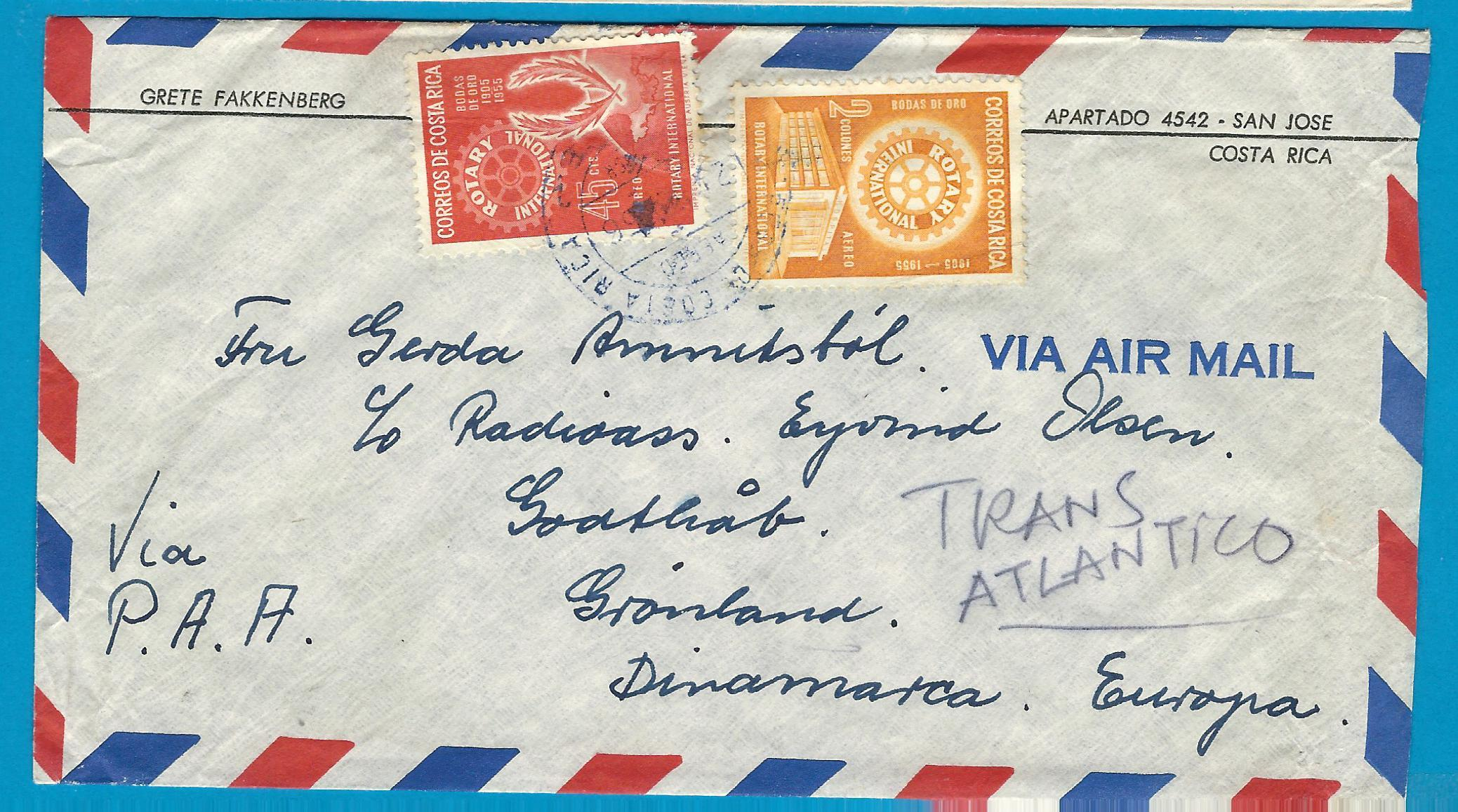 COSTA RICA air cover 1956 San José with Rotary stamps to Denmark CRI027