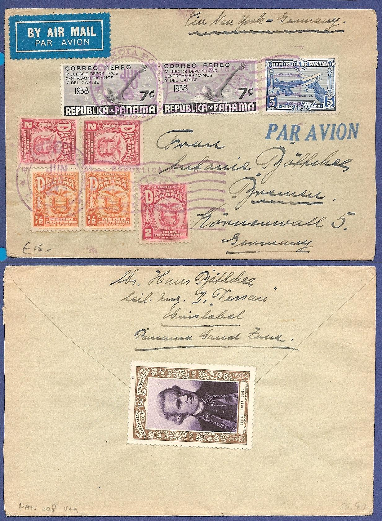 PANAMA air cover 1933 Colon to Germany PAN008