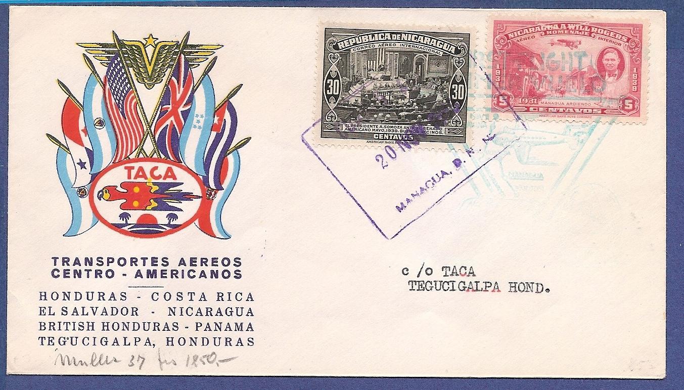 NICARAGUA TACA flight cover 1943 Nicaragua to Honduras NIC009