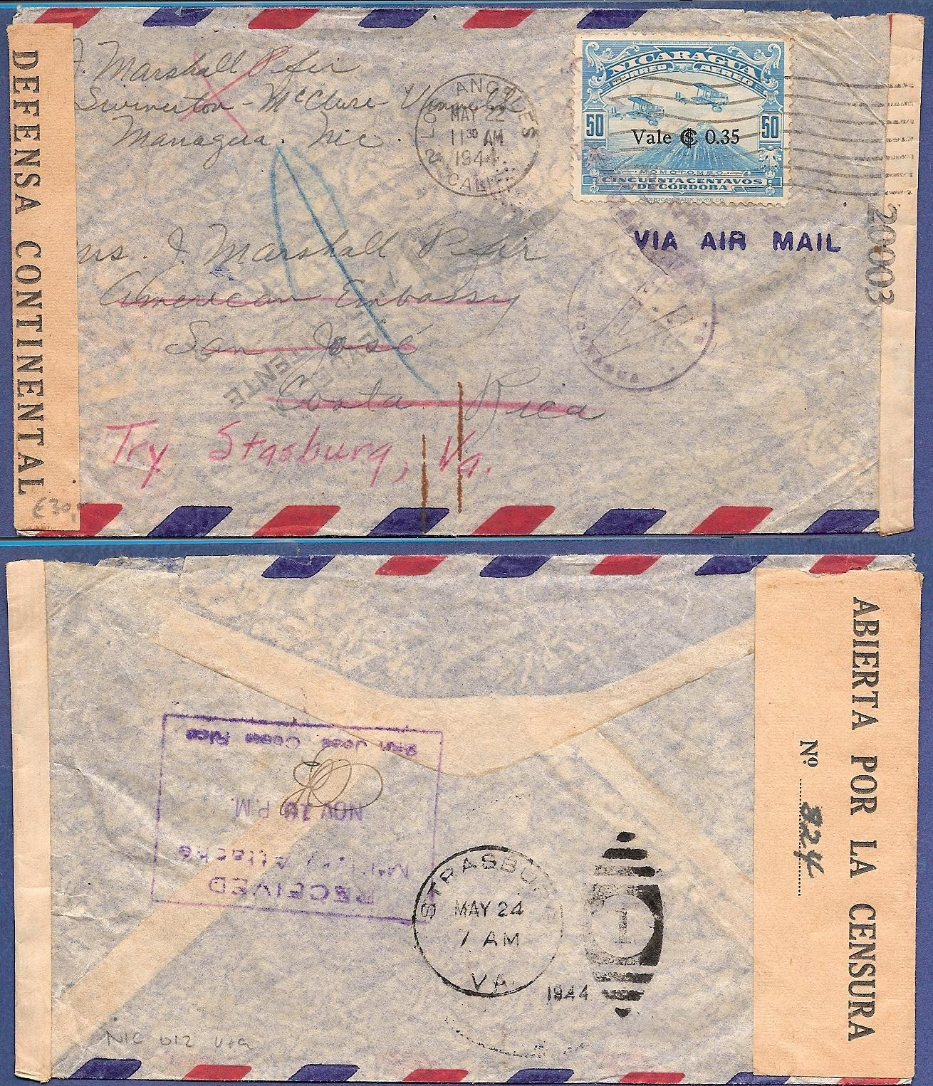 NICARAGUA censored air cover 1944 Managua to US Embassy in Costa Rica NIC012