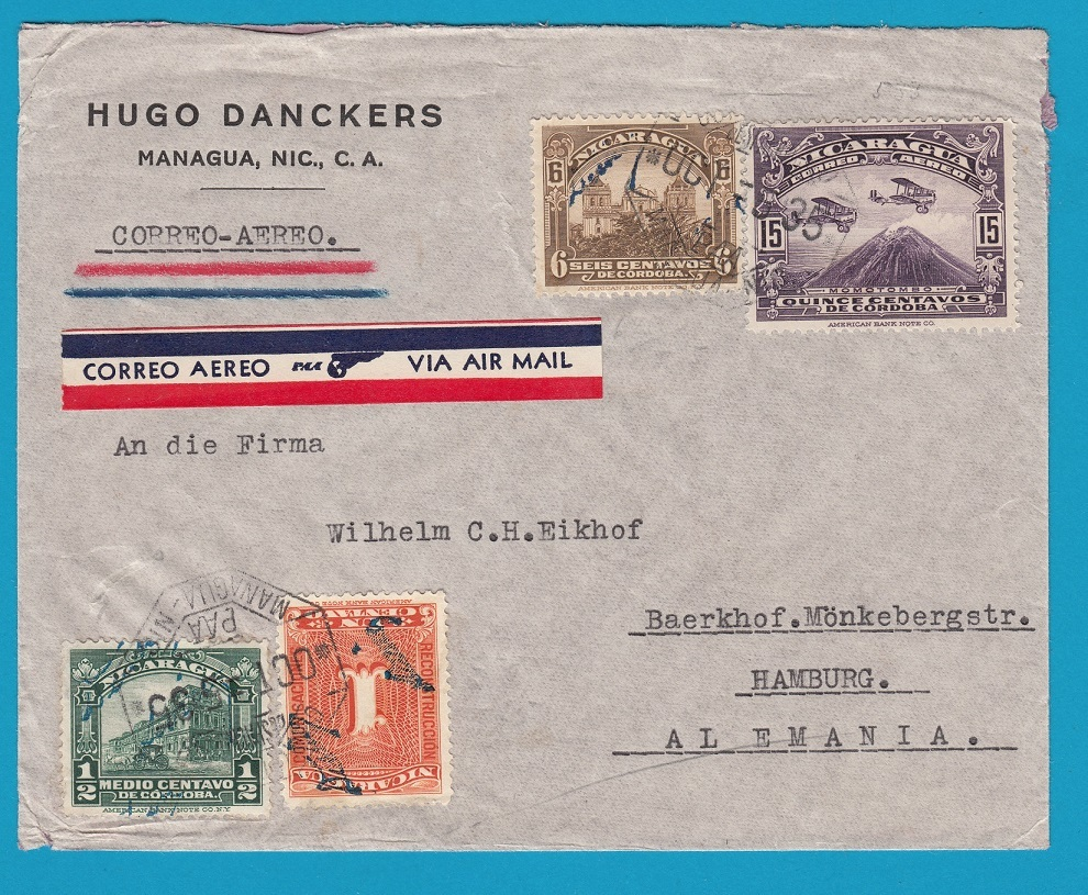 NICARAGUA air PAA cover 1935 Managua to Germany NIC026