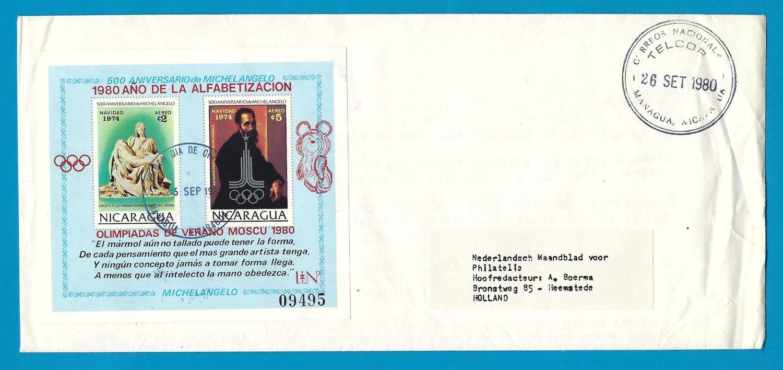 NICARAGUA R cover 1980 Managua sheetlet Olympics Moscow