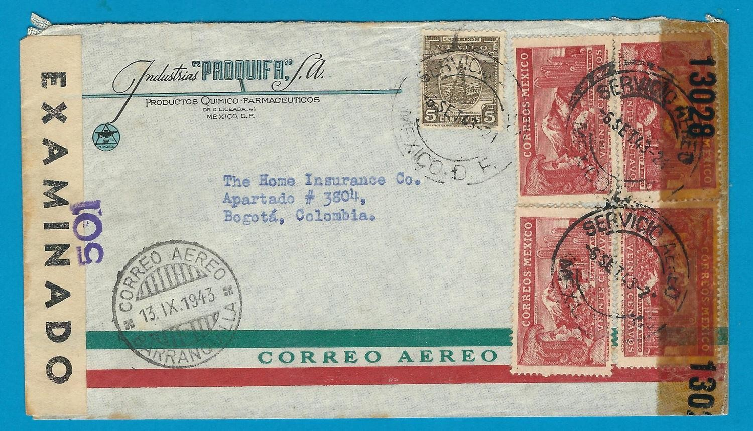 MEXICO air censored cover 1943 to Colombia