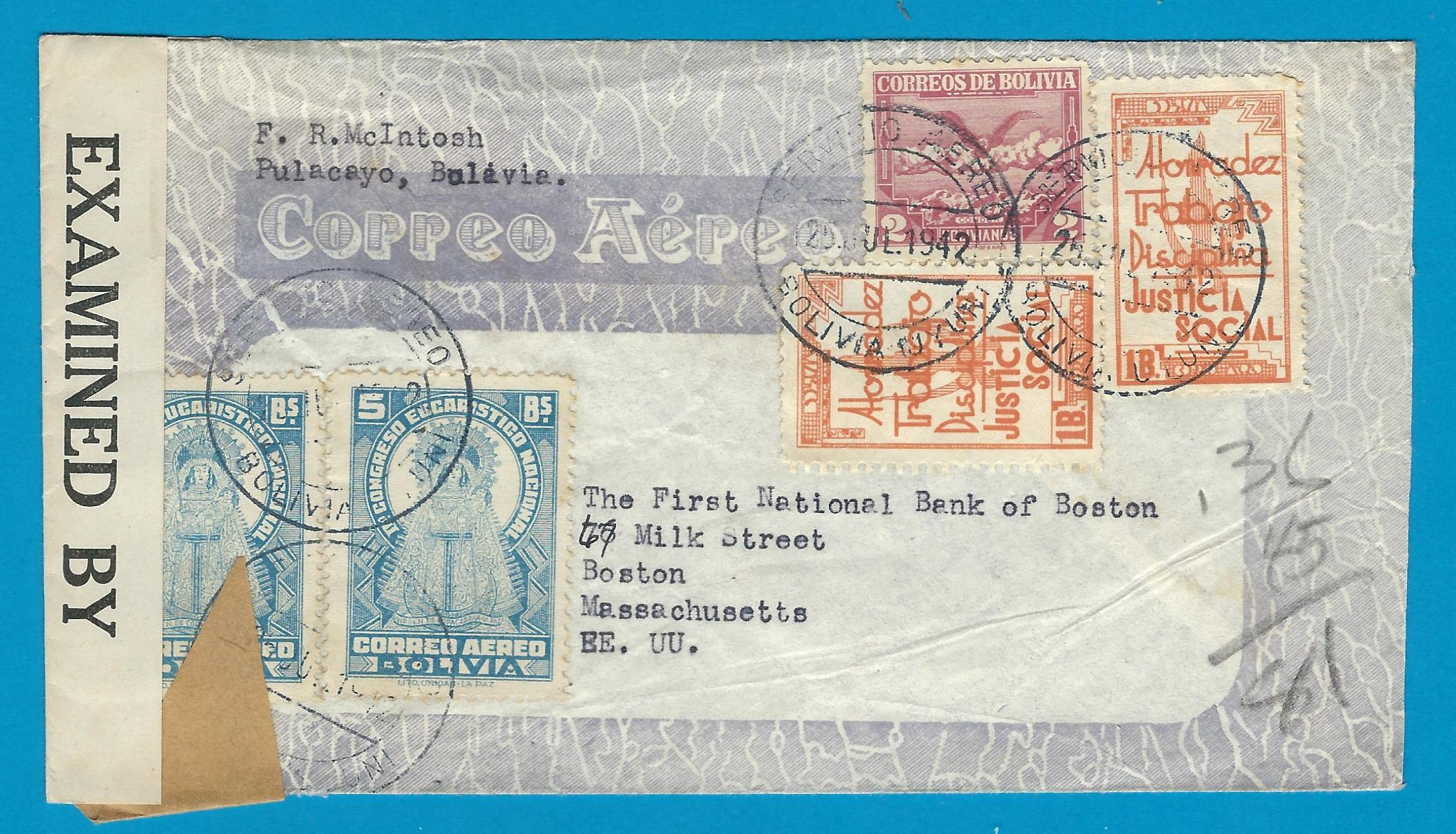 BOLIVIA censor air cover 1942 Uyuni to USA BOL033