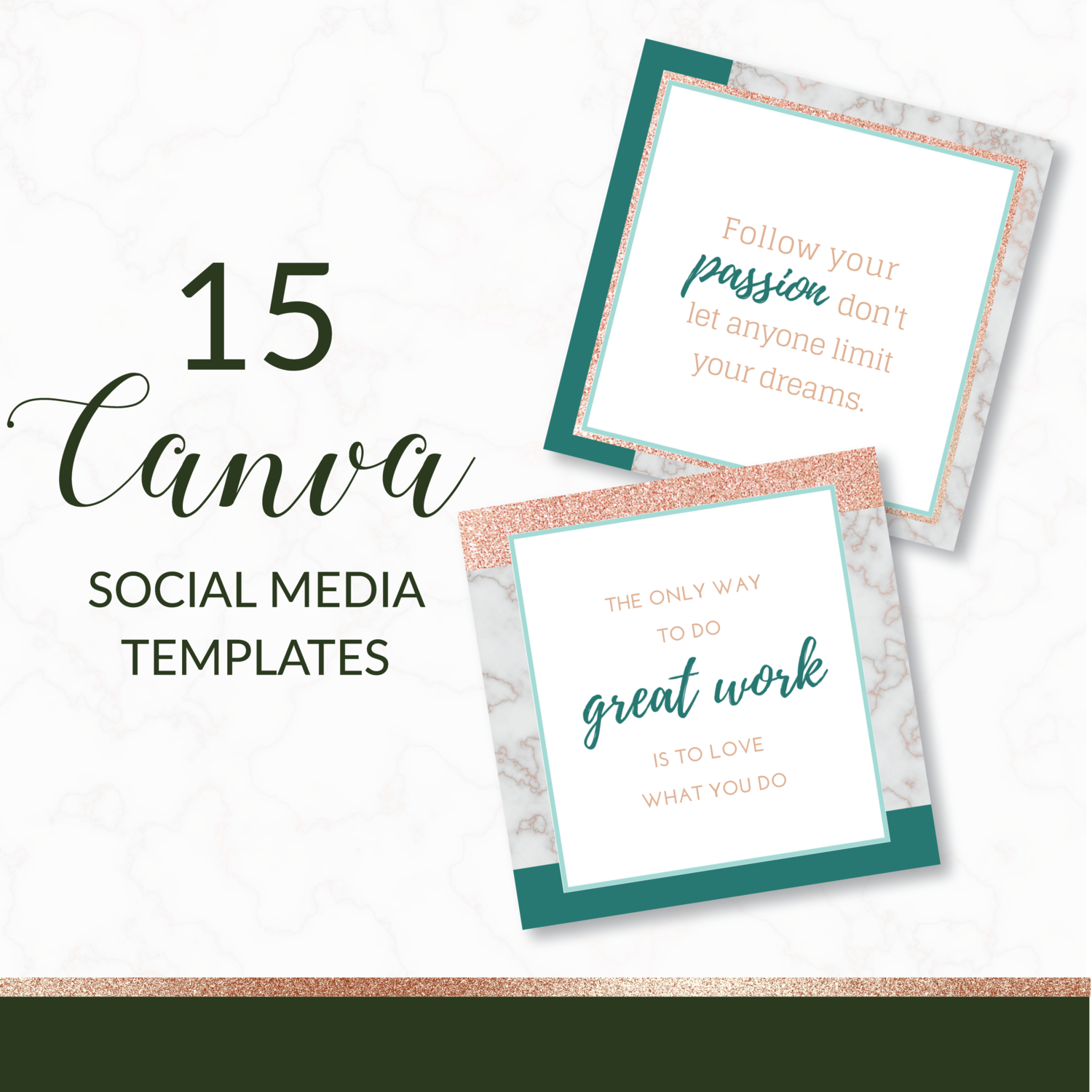 Teal Rose Gold and Marble Canva Social Media Templates