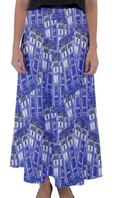 Police Box Watercolor Flared Maxi Skirt
