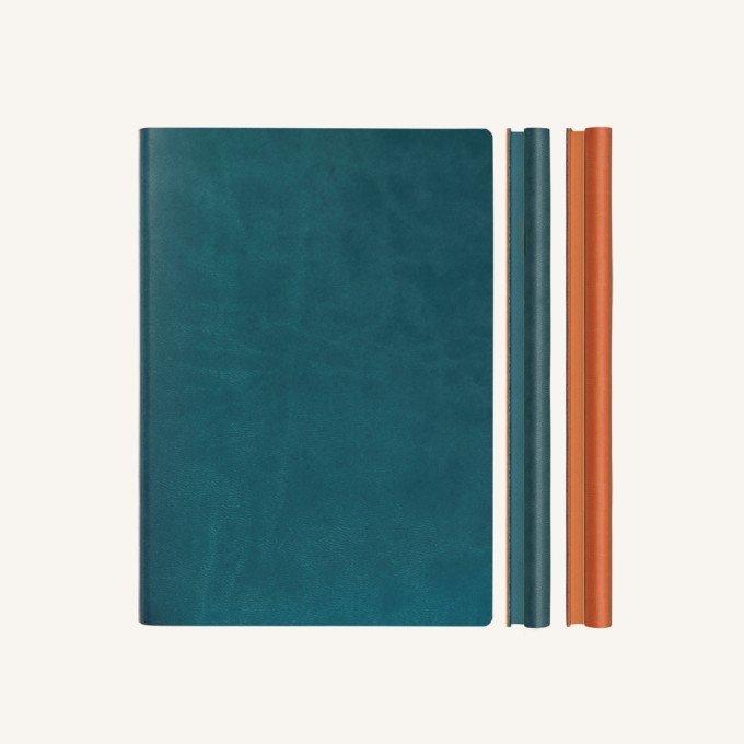 Signature Duo vonalas / pontozott jegyzetfüzet - A5 , zöld/narancs
