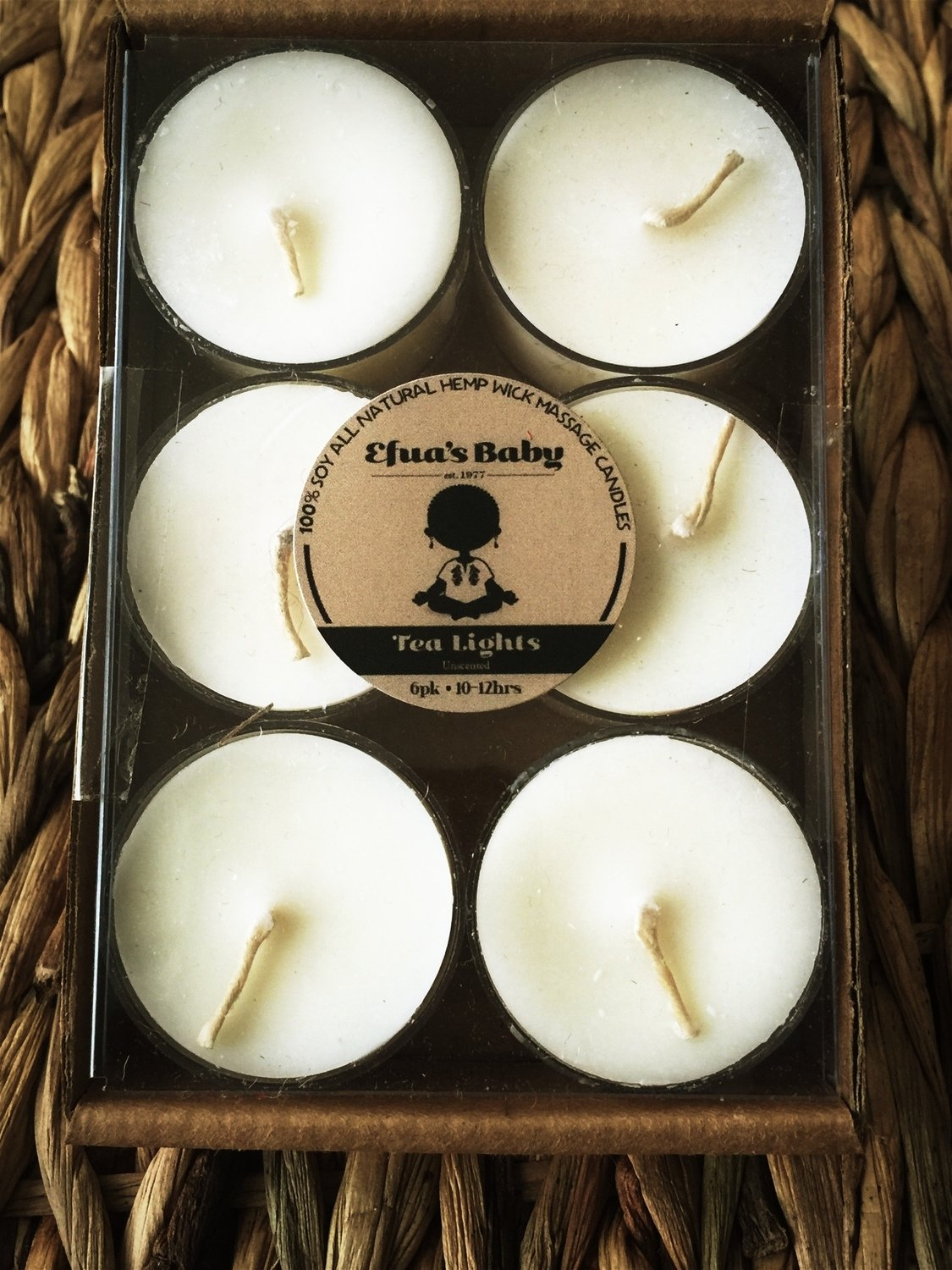 6 Pack Unscented Soy Tea-lights