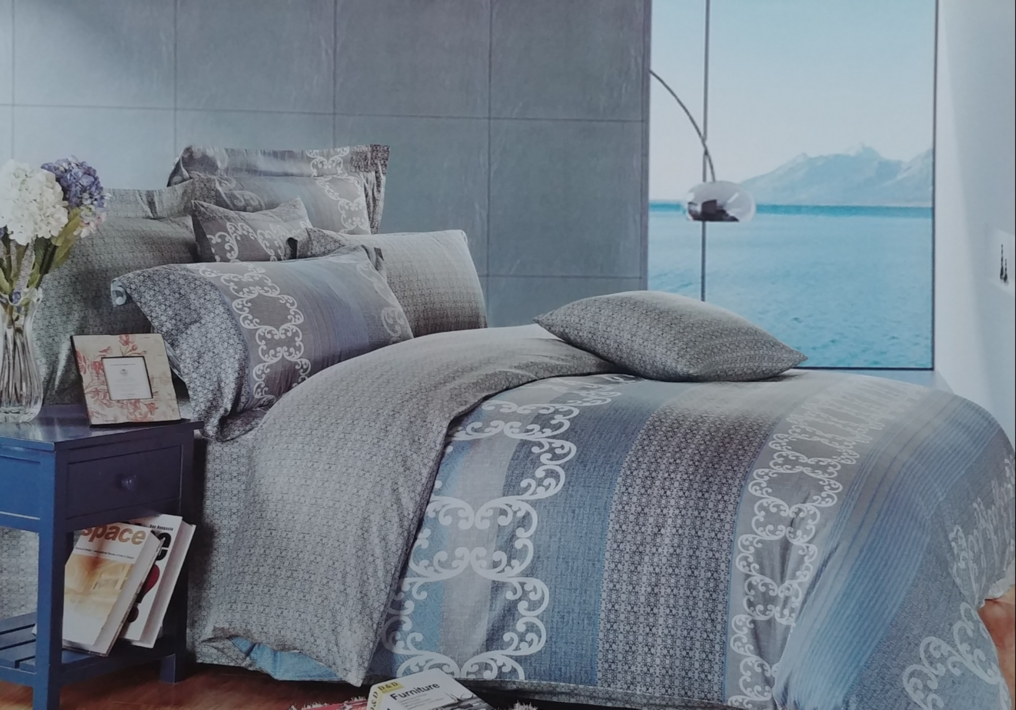 Blue Water Way Stripe Bedding Set BWW402