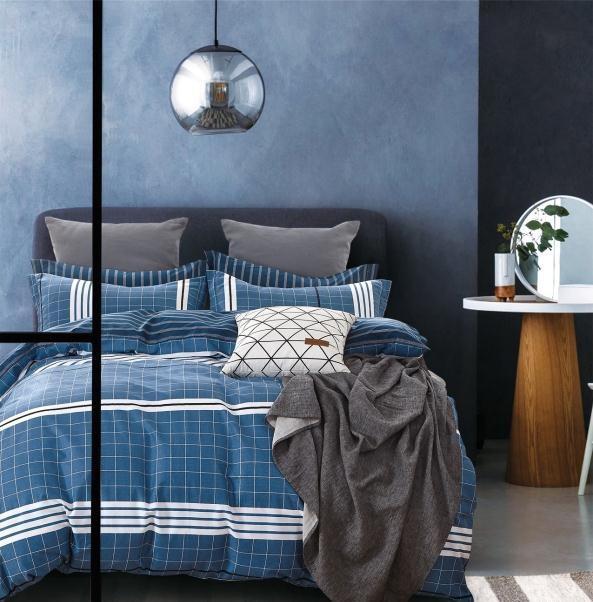 Lewis Blue Plaid Bedding Set LSB876