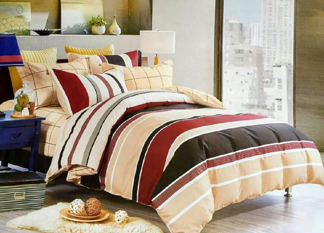 Crawford Red and Cream Stripe bedding set LRC890