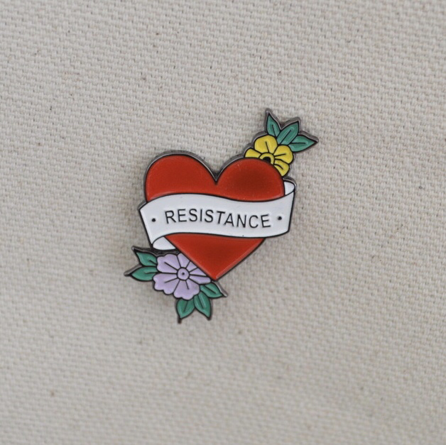 Resistance old skool tattoo pin - 30% of profits go to the ACLU.