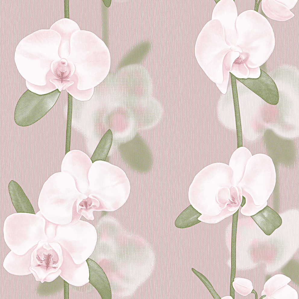Орхидеи. Артикул: 219Х. Орхидеи - фон. Артикул: 250Х. Вспененный винил на флизелиновой основе. Размер: 1,06*10,05 м.