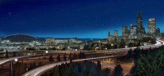 Звездный город. Фотообои. Размер:  291х136 см.