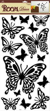 RDA 3190 V.Бабочки черные .  Декоративные наклейки. Размер: 32х60 см. Количество: 15 элементов. Материал: ПВХ. Влагостойкая.