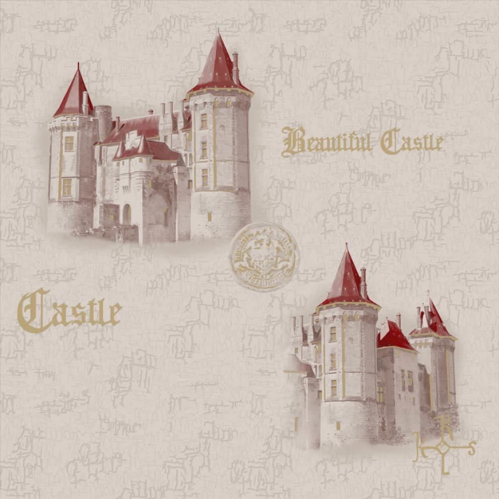 Замок.  Виниловые профильные химтиснение 0,53x10м. Комбинируются с Замок-2.