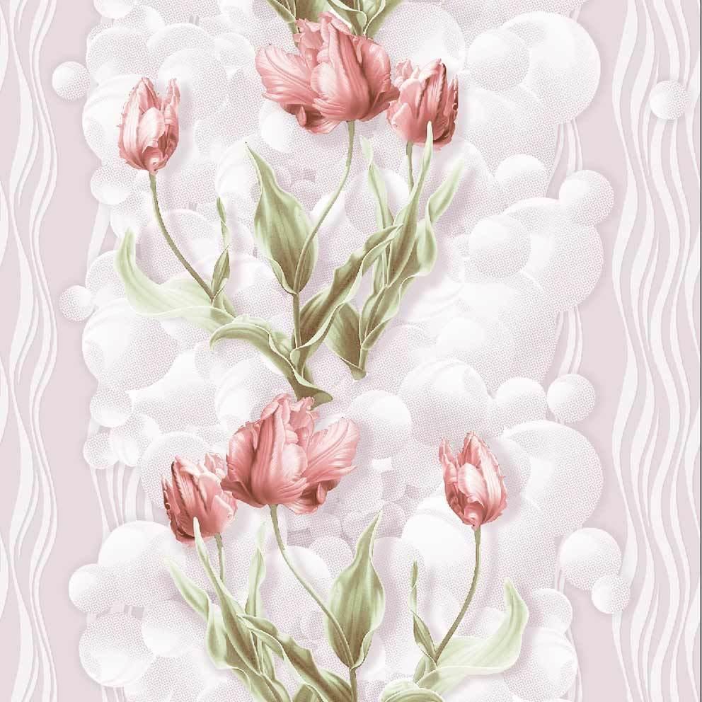 Тюльпаны.  Бумажные тисненые окрашенные симплекс, флексографская печать.