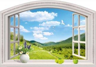 Дивный вид.  Фотообои вид из окна.  Размер: 194х136 см.