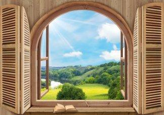 Полдень-2.  Фотообои вид из окна.  Размер: 194х136 см.