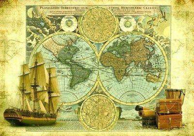 Карта странствий.  Фотообои, карта. Размер: 194х136 см.