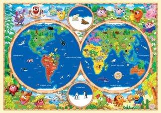 Забавная кругосветка.  Фотообои, карта. Размер: 194х136 см.