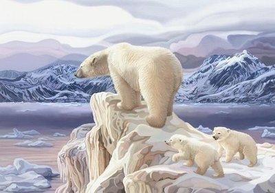 Мишки на севере.  Фотообои, медведи.  Размер: 194х136 см.