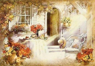 Солнечный дворик.  Фотообои в стиле ретро.  Размер: 194х136 см.