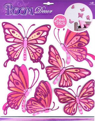 CBA3113V. Бабочки, декоративные наклейки. Размеры: 30,5х30,5 см. Количество: 6 элементов. Материал: ПВХ, картон, блестки, многослойные. Эффект 3D.