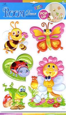 POA1007V. Декоративные наклейки для детской. Размеры: 29х41 см. Количество: 5 элементов. Материал: ПВХ, влагостойкие. Эффект 3D.